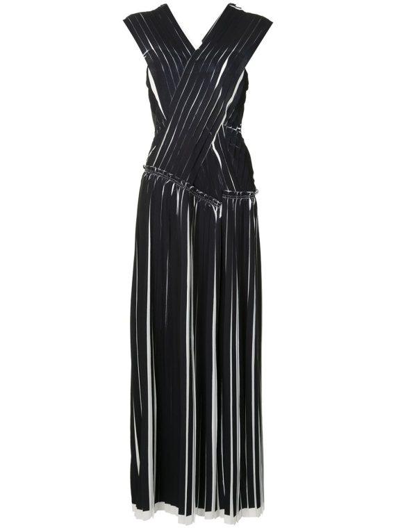 3.1 Phillip Lim فستان بكسرات وتصميم متقاطع – أسود