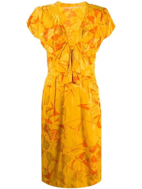 A.N.G.E.L.O. Vintage Cult فستان بطبعة استوائية – أصفر