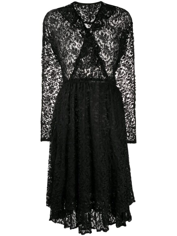 A.N.G.E.L.O. Vintage Cult فستان دانتيل من الثمانينيات – أسود