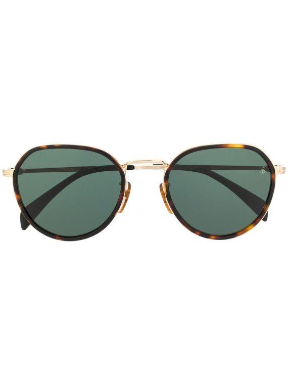 DAVID BECKHAM EYEWEAR نظارة شمسية مستديرة بتأثير صدف السلحفاة – أسود