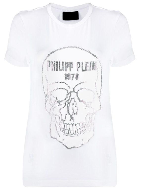 Philipp Plein تيشيرت بشكل جمجمة وزينة بحجر الراين - أبيض